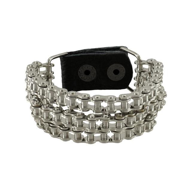 Chrome Plated Triple Bike Chain Link 9 Inch Mens Chain Bracelets