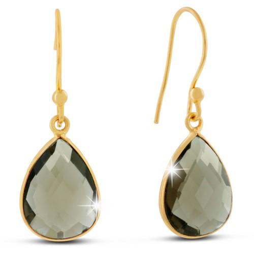 Gold Tone 12ct Smoky Quartz Pear Shape Earrings