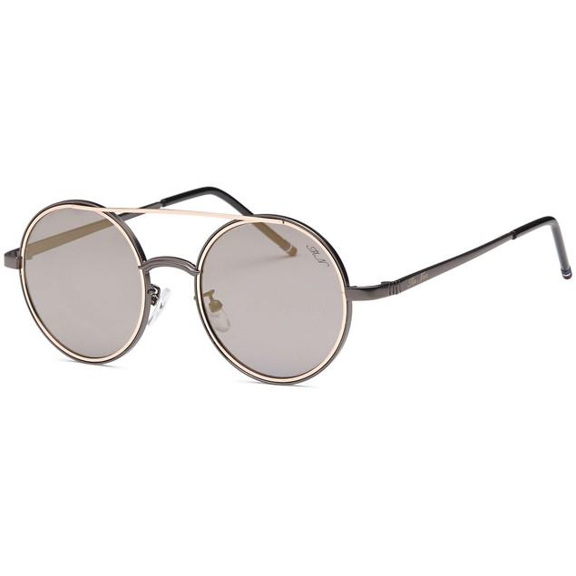 Rounded Double Bridge Retro Bronze Sunglasses