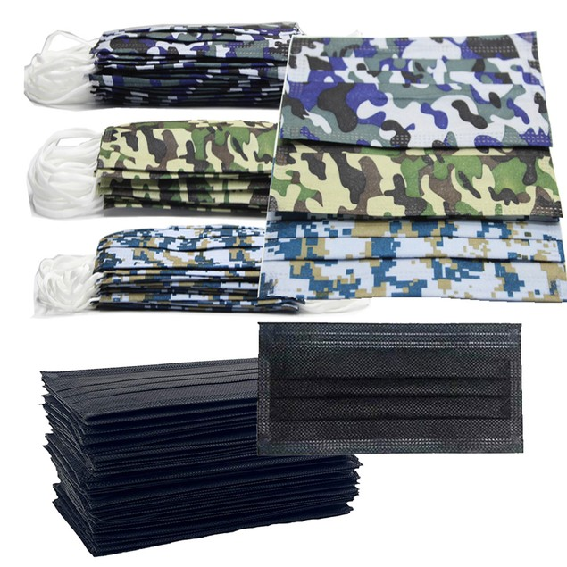 Non-Medical Disposable 3-Ply Black/Camo Face Masks (Multi-Packs Available)