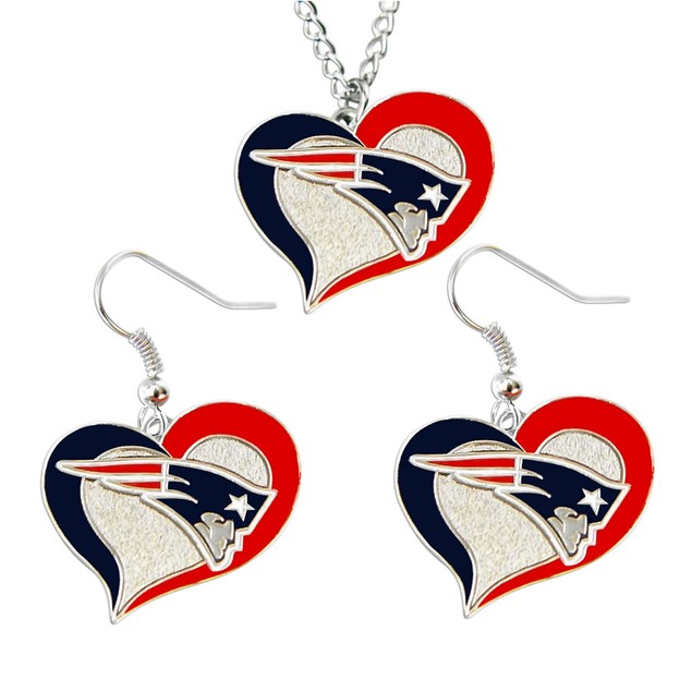LA Los Angeles Chargers Swirl Heart Necklace & Earring Set NFL Charm Gift