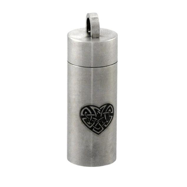 Stainless Steel Celtic Heart Cylinder Stash Womens Pendants