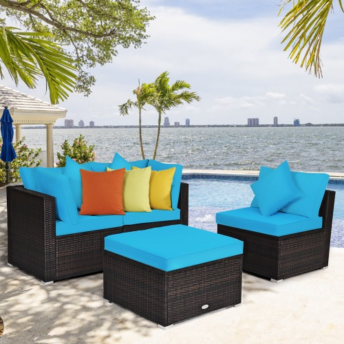 Costway 4PCS Patio Rattan Wicker Sofa Furniture Set