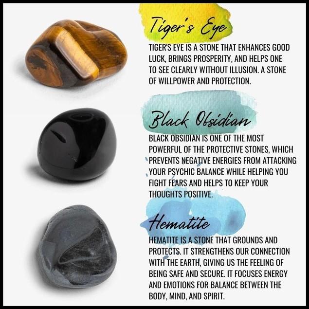 Hematite, Tiger's Eye and Black Obsidian Stone Bracelet