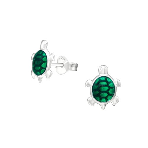 0.925 Sterling Silver Green Enameled Turtle Shape Post Earrings