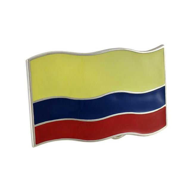 Columbian Flag Chrome / Enamel Belt Buckle Mens Belt Buckles