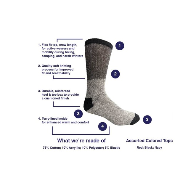 9-Pack Assorted Men's Thermal Insulated Heat Retaining Winter Socks