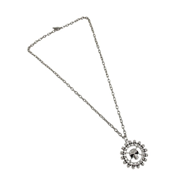 Chrome Plated Ring Of Skulls Pendant And Necklace Chain Necklaces
