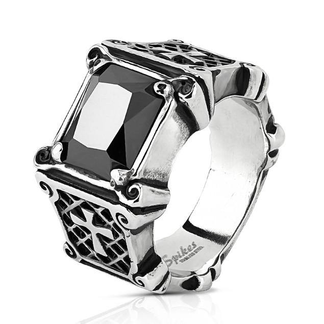 Men's Black Gemstone & Cross Stainless Steel Ring