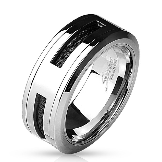 Black Cable Centered 316L Stainless Steel Ring
