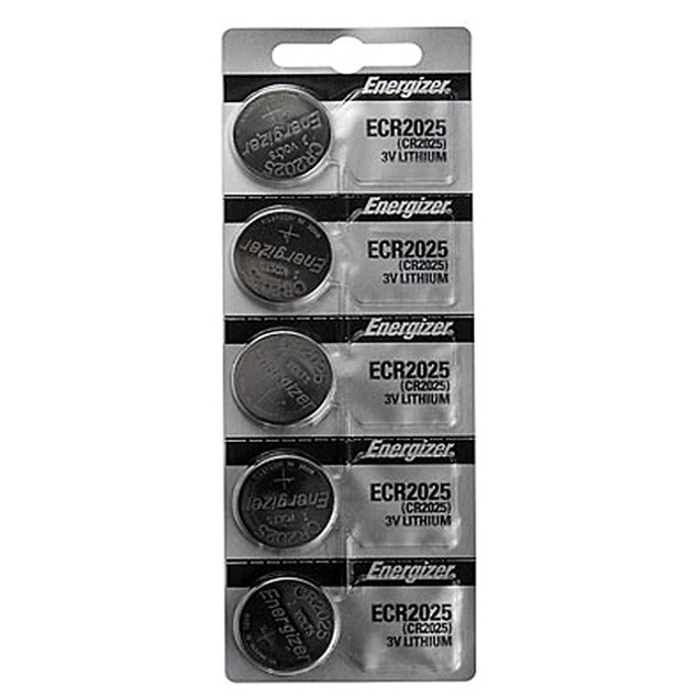 5-Pack CR2025 Energizer Lithium Batteries