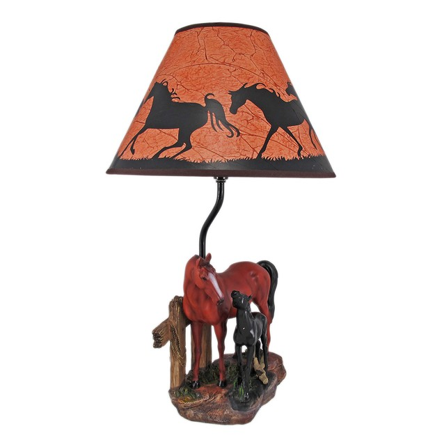 Brown Mare And Foal Horse Table Lamp W/ Shade Table Lamps