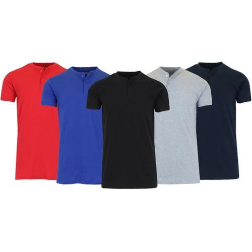 4-Pack Men's Slim Fitting Short Sleeve Henley Slub Tee (Sizes, S-2XL)