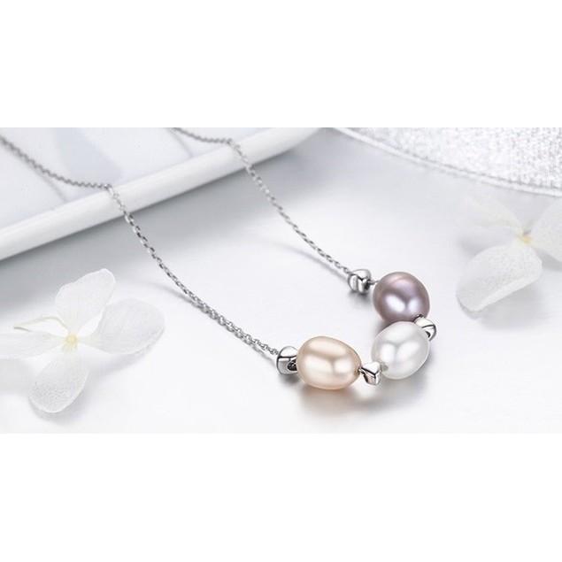 Triple Faux Pearl Drop Necklace