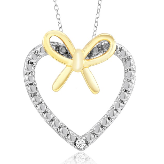 .20ct Diamond & Gold Bow Heart Necklace