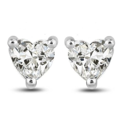 1/2ct Cubic Zirconia Heart Shaped Stud Earrings Crafted In Solid Sterling Silver