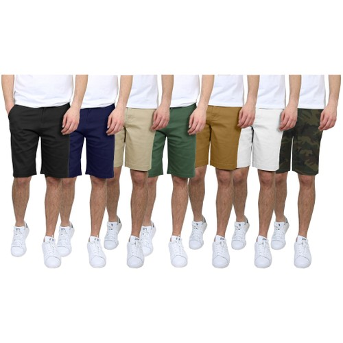 3-Pack Men's 5-Pocket Flat-Front Slim-Fit Chino Shorts (Size 30-42)