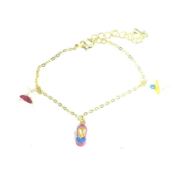 "18KGP Pink White, Blue Ballerinas Enameled Shoes Children's Charms Bracelet (5.5""+ 2""Extention)"