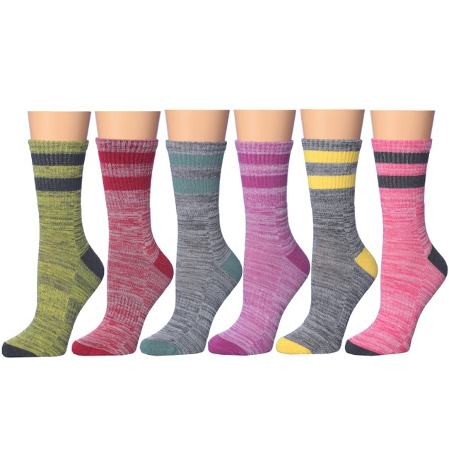 6-Pairs: Frenchic Cushioned Sole and Toe Winter Crew Socks