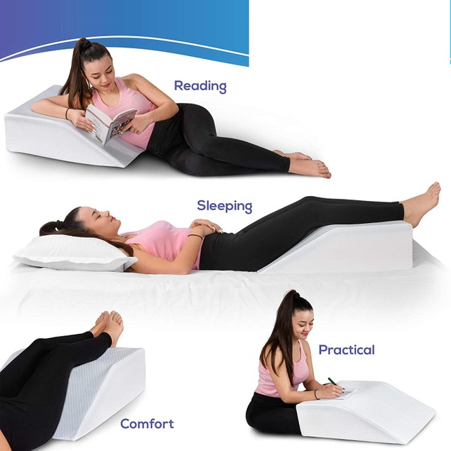 Bed Wedge Pillow w/ Memory Foam Top - Leg or Back