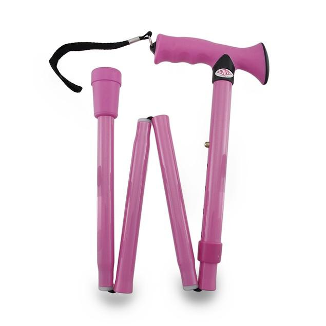 Pink Adjustable Aluminum Folding Cane W/Wrist Walking Canes