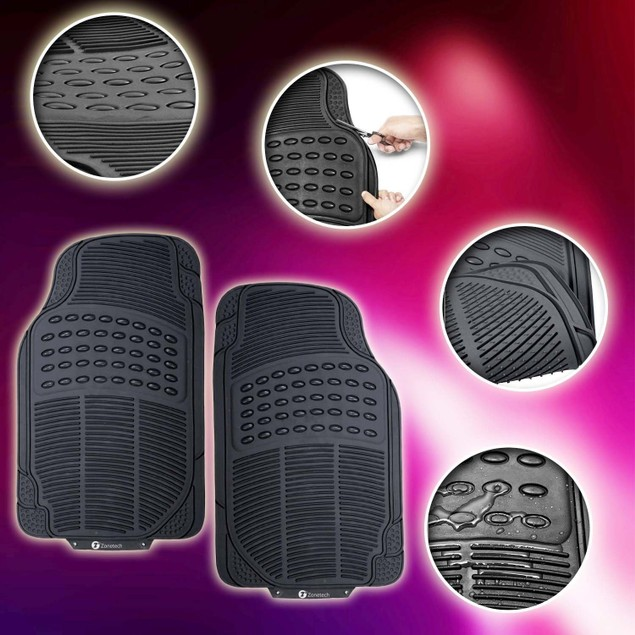 Zone Tech Rubber Floor Mats Car Truck Black Interior Cargo Liner Heavy Duty