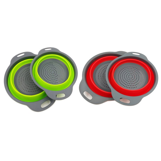 3-in-1 Collapsible Strainer, Salad Bowl, and Multipurpose Holder (2-Pack)