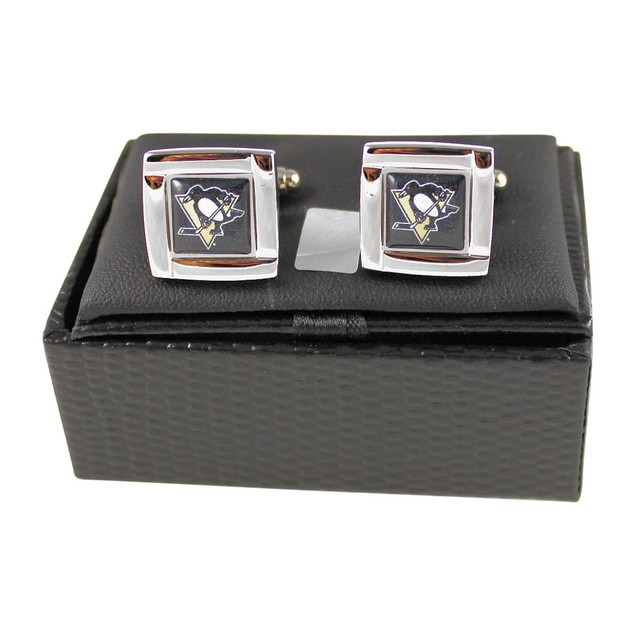 """NHL 5/8"""" Square Cufflinks with Square Shape Engraved Logo Gift Box Set"""
