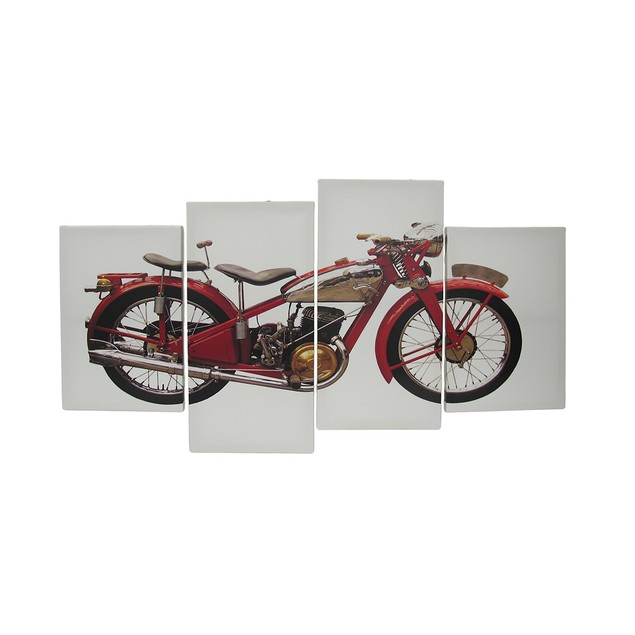 4 Piece Vintage Motorcycle Canvas Wall Art Set Prints