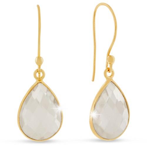 Gold Tone 12ct Clear Quartz Pear Shape Earrings