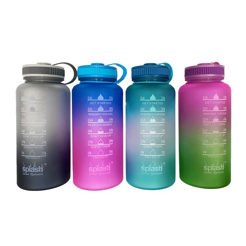 3-Pack Assorted Motivational Water Bottle w/ Twist Cap Design - 34oz