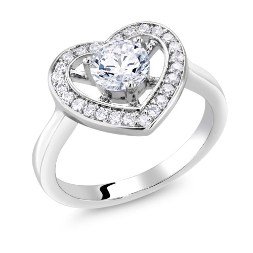 Cubic Zirconia Large Heart Ring