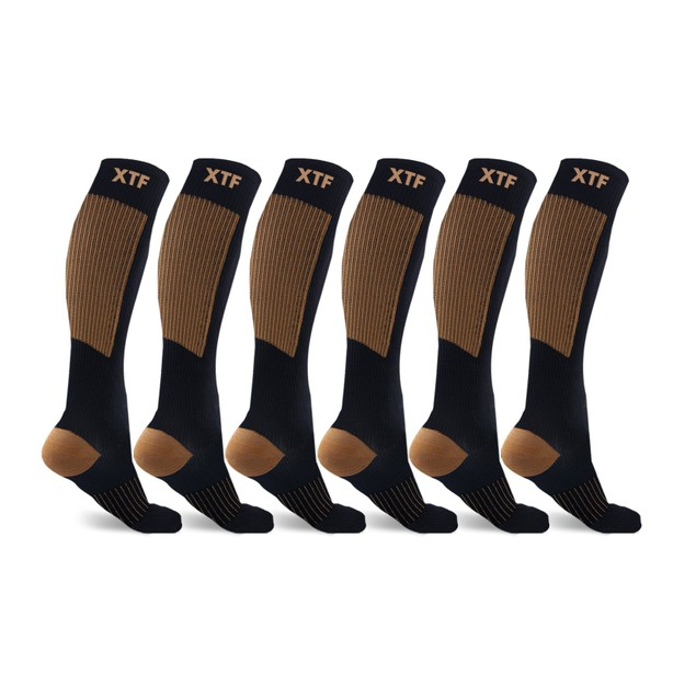 6-Pairs: Extreme Fit Unisex Copper-Infused Compression Socks