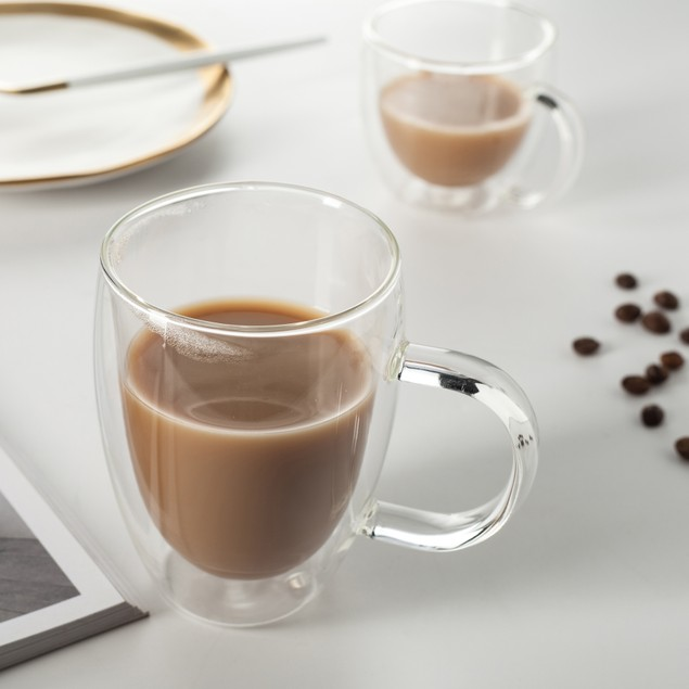 2 Piece Set Eravino Double Wall Insulated Coffee or Tea Glass Cup