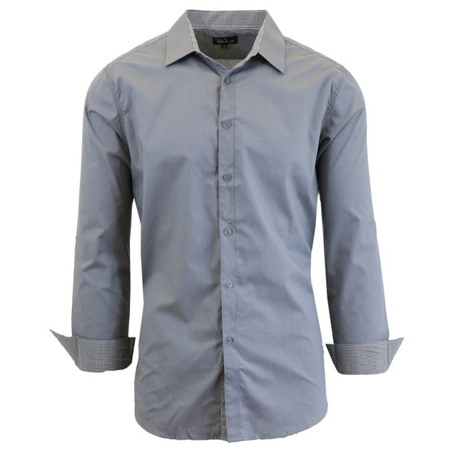 Mens Long Sleeve Solid Dress Shirt
