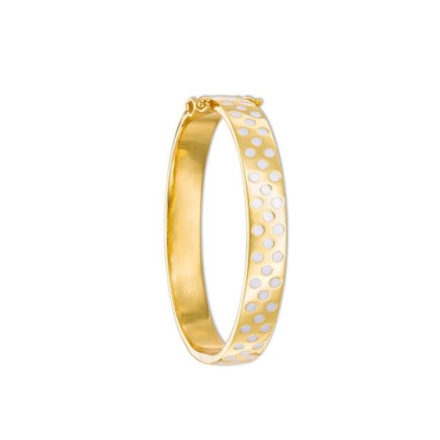 18k Gold Plated White Dots Enameled Hinged Children's Bangle Bracelet