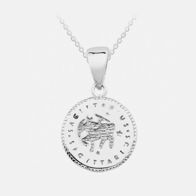 Inspired Sterling Silver Zodiac Pendant - Sagittarius