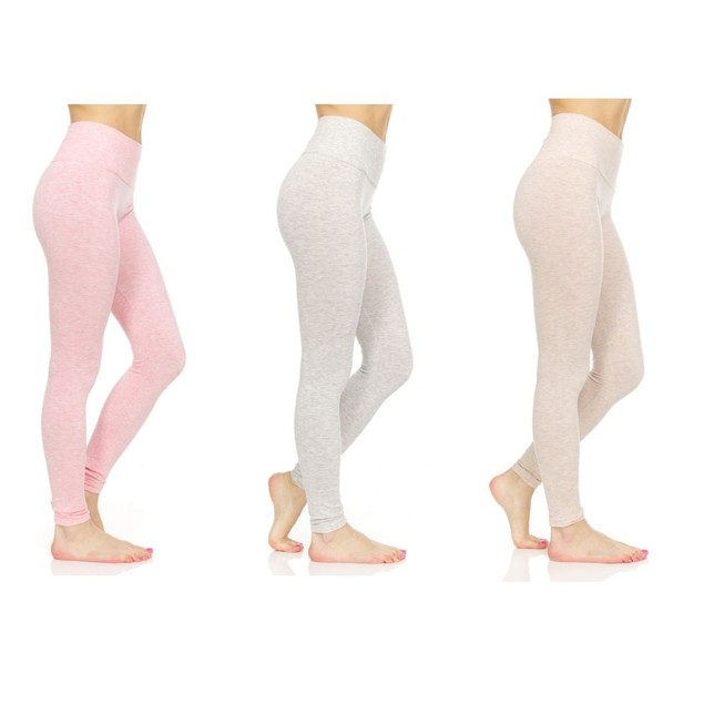 3-Pack Women's Marled Tummy Control Slimming Leggings