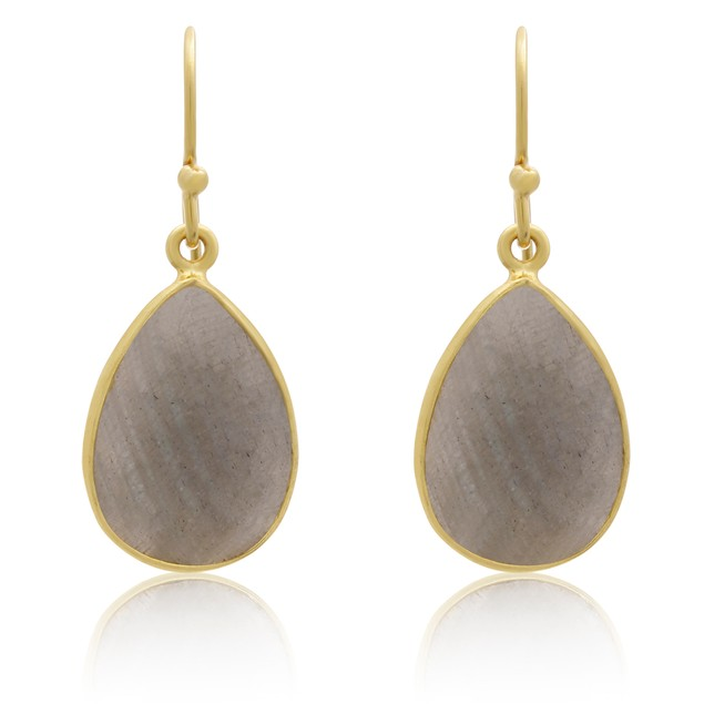 Gold Tone 12 Carat Labradorite Pear Shape Earrings