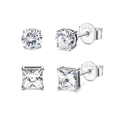 0.925 Sterling Silver 2-Pack Stud Set-7MM Round & 7MM Princess-Cut Cubic Zirconia Post Earring Set