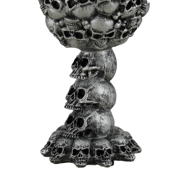 Skull Covered Silvered Black Drinking Goblet Goblets
