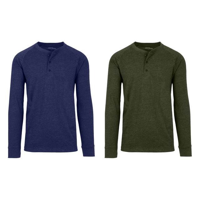 2 Pack-Men's Long Sleeve Marled Henley Tee