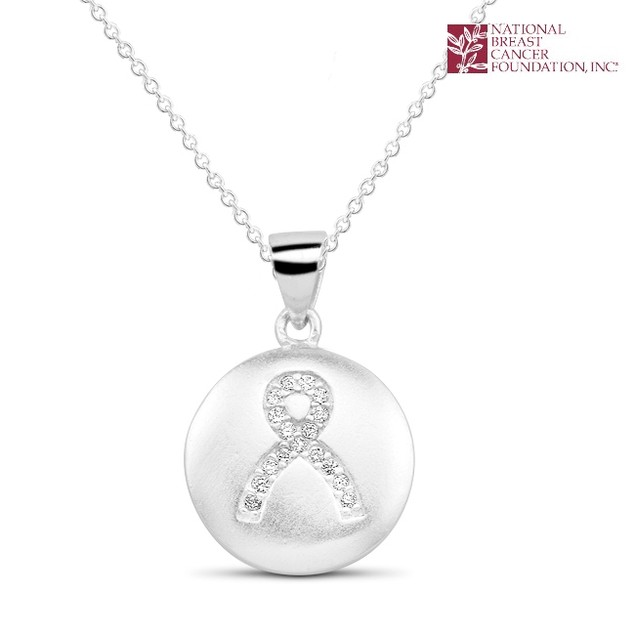 National Breast Cancer Foundation Sterling Silver Ribbon Pendant