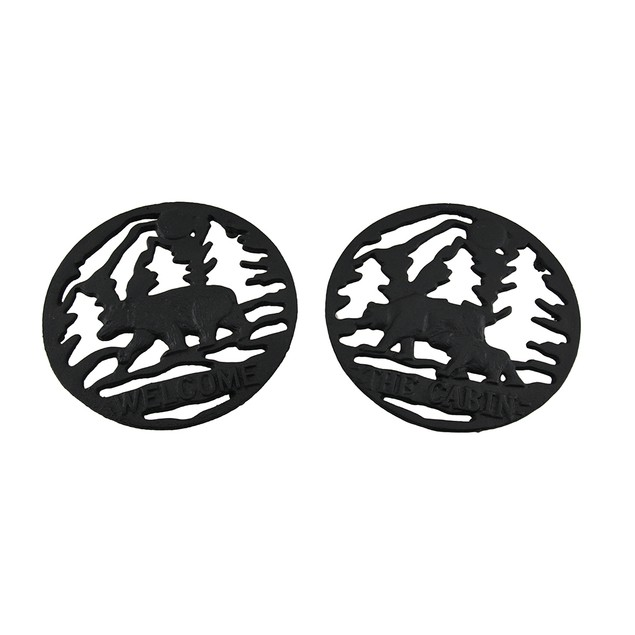 2 Pc. Woodland Black Bear Rustic Welcome And The Trivets
