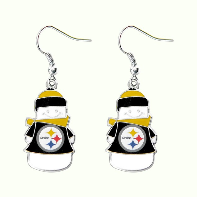 NFL Snowman Holiday Dangle Logo Earring Set