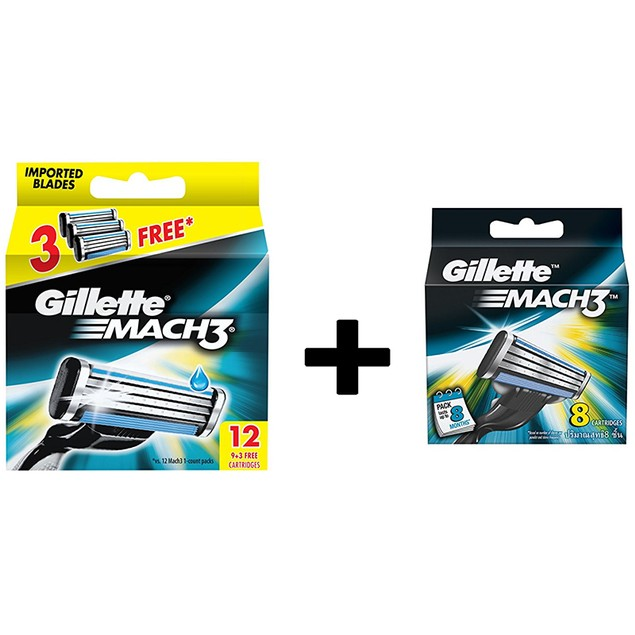 Gillette Mach3 Refill Razor Blade Cartridges, 20 Count (8ct+12ct)