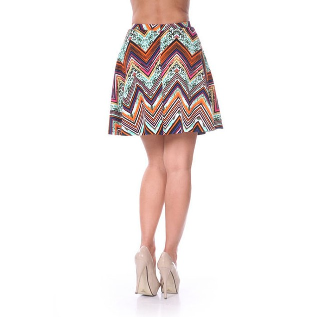 Fuchsia & Orange Chevron Print Skater Skirt