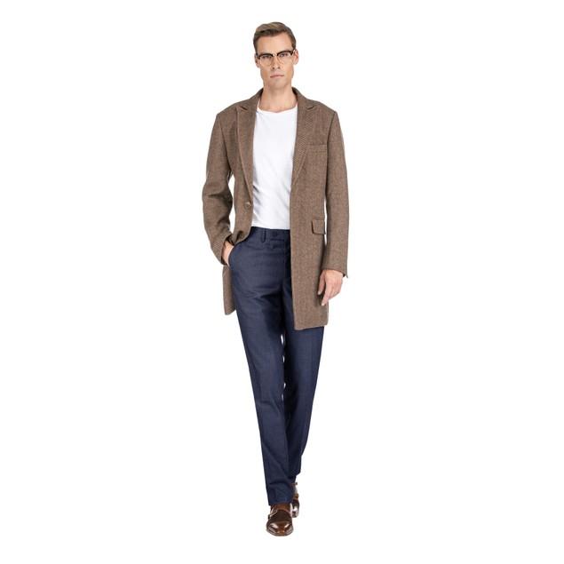 Braveman Men's Wool Blend Herringbone Topcoat