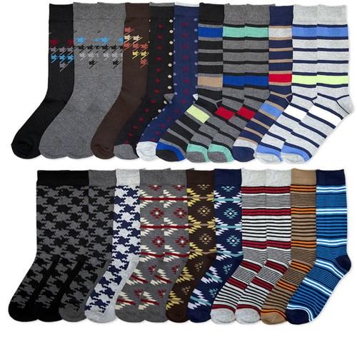 Men's Patterned Dress Sock Bundle (12 or 24-Pack)