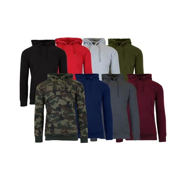 2-Pack Men's Slim-Fit Fleece-Lined Pullover Hoodie